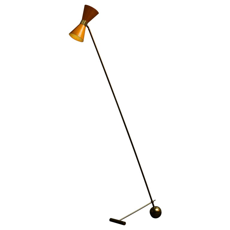 Midcentury Style Italian Brass Floor Lamp with Yellow Cones Shades For Sale