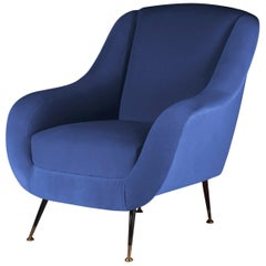 Midcentury Style Italian Lounge Chair in Blue