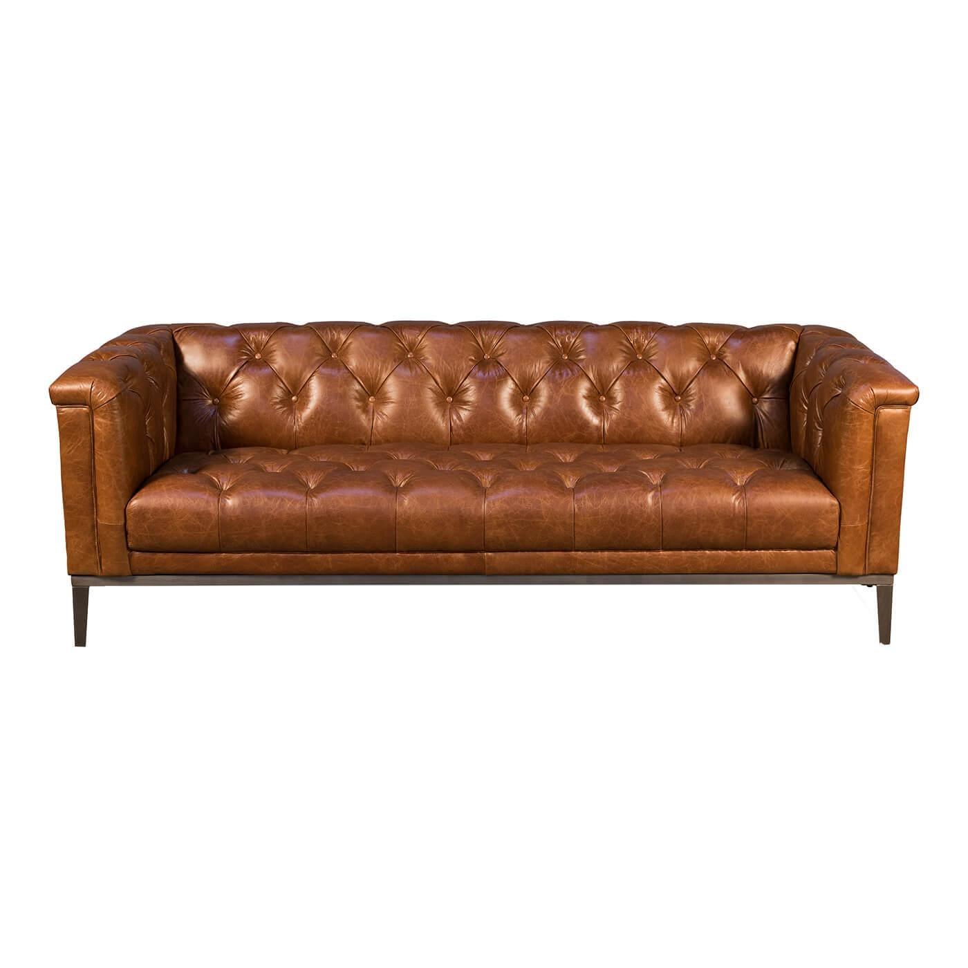 Mid Century Style Leather Sofa