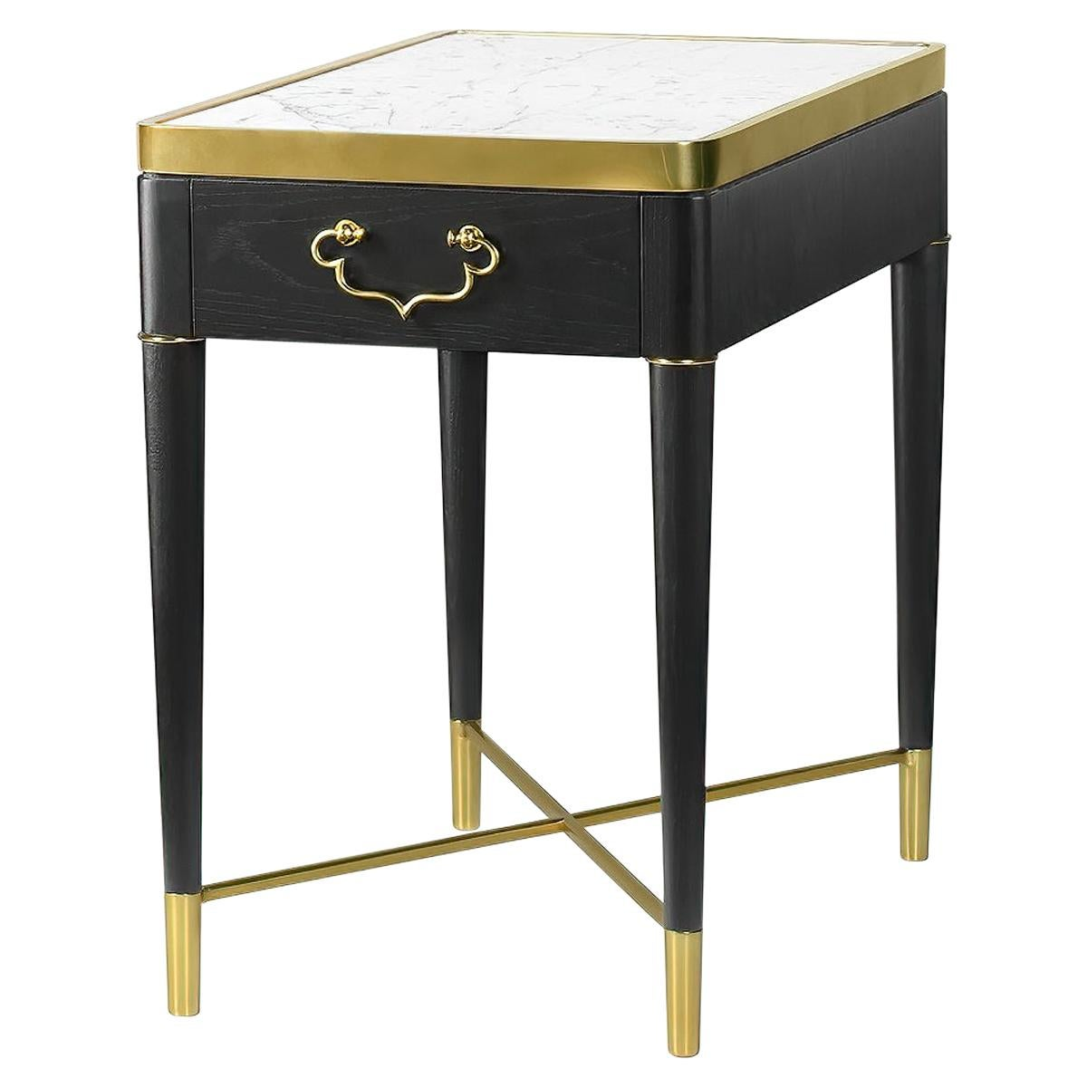 Midcentury Style Marble-Top Side Table