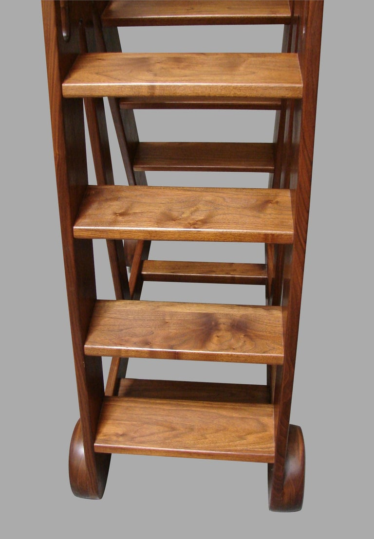 Midcentury Style Modern Double Sided Figured Walnut Library Ladder For Sale 2