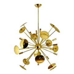 Mid-Century Style Sputnik Brass Disc Chandelier