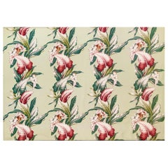 Mid Century Style Trendtex Cotton Fabric with Tropical Flower and Leaf Design