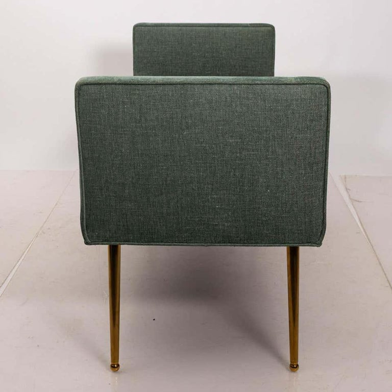 Mid-Century Modern Midcentury Style Upholstered Armed Bench For Sale