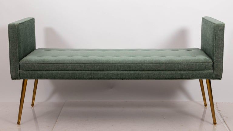 American Midcentury Style Upholstered Armed Bench For Sale
