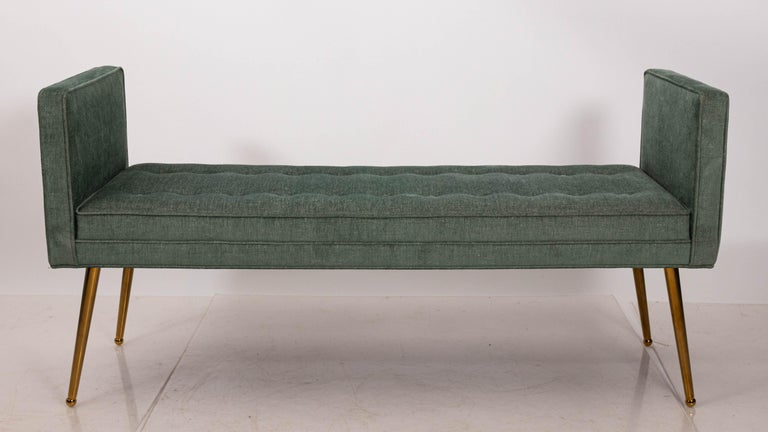 Contemporary Midcentury Style Upholstered Armed Bench For Sale