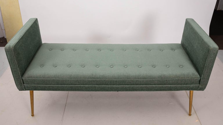 Brass Midcentury Style Upholstered Armed Bench For Sale