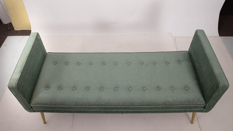 Brass Midcentury Style Upholstered Bench For Sale