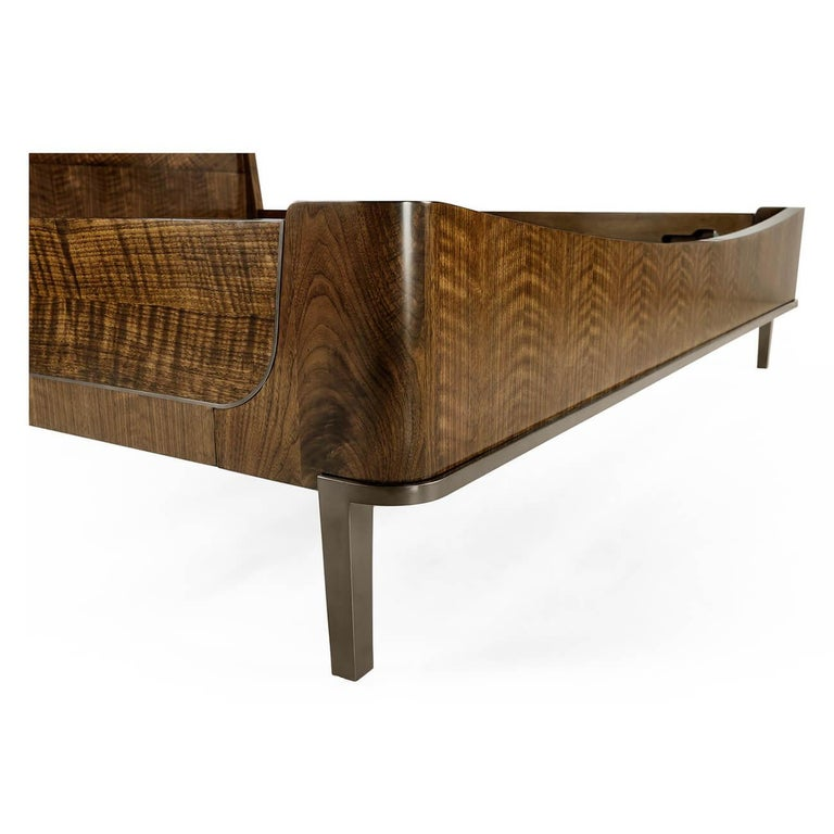 European Midcentury Style Walnut Frame Bed - King For Sale