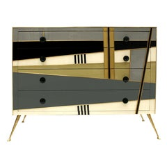 Midcentury Style Wood Colored Glass and Brass Italian Commode by L.A. Studio