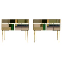 Midcentury Style Wood Colored Glass and Brass Pair of Italian Sideboards