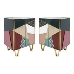 Mid Century Style Wood Colored Glass and Brass Pair of Italian Sideboards