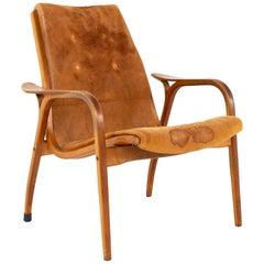 Mid Century Suede Swedish Lounge Chair