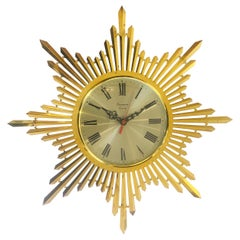 Midcentury Sunburst Gilt Clock by Japanese Maker Timemaster