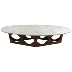 Mid Century  Surfboard Marble-Top Coffee Table with Walnut Quatrefoil Motif Base