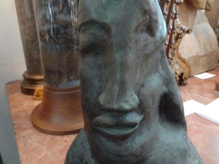 Mid-Century Modern Midcentury Surrealist Bronze Bust after Salvador Dali For Sale