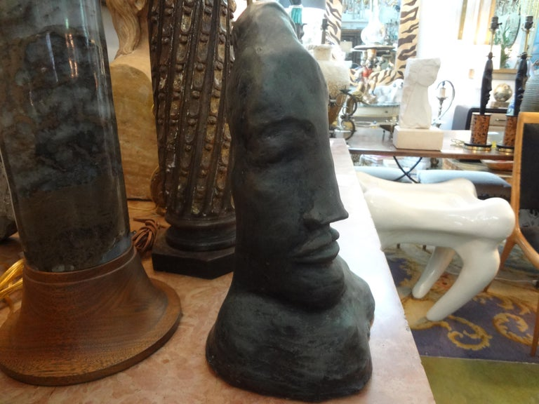 Midcentury Surrealist Bronze Bust after Salvador Dali In Good Condition For Sale In Houston, TX