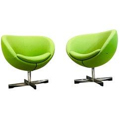 Midcentury Sven Ivar Dysthe Danish Swivel Lounge Chairs