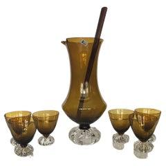Mid-Century Swedish Aseda Glasbruk Barware Set- 8 Pieces