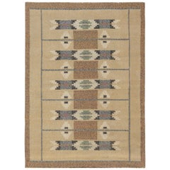 Midcentury Swedish Beige, Gray and Brown Geometric Flat-Woven Wool Rug