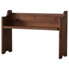 Mid Century Swedish Bench in Solid Pine, in Style of Axel Einar Hjorth, 1950s