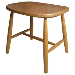 Midcentury Swedish Birch Stool by Ilmari Tapiovaara For Hagafors Stolfabriken