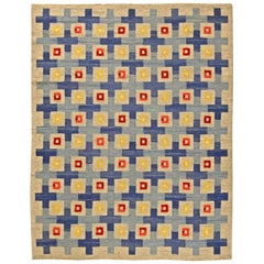 Midcentury Swedish Blue, Red, Yellow & Beige Flat-Woven Wool Rug