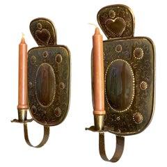 Mid Century Swedish Brass Sconces 'pair'