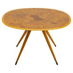 Mid Century Swedish Coffee Table with Elm Root Inlay