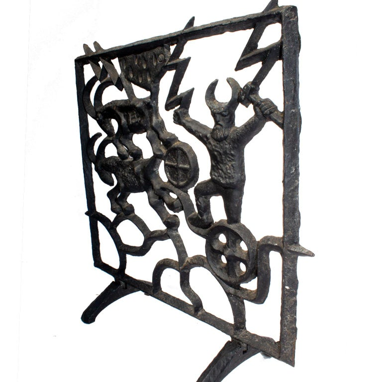Cast Midcentury Swedish Fireplace Screen by Olle Hermansson for Husqvarna For Sale