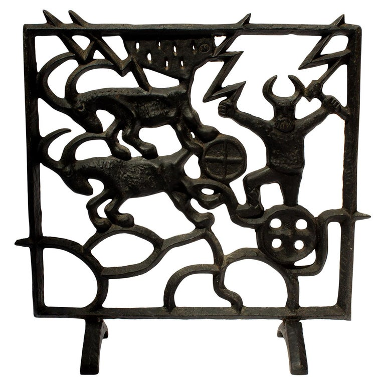 Midcentury Swedish Fireplace Screen by Olle Hermansson for Husqvarna For Sale