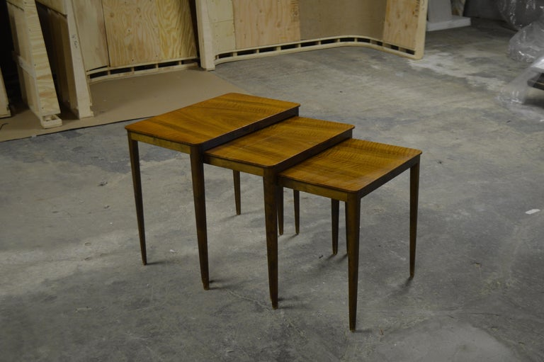 Midcentury Swedish Flame Birch Nesting Tables In Good Condition For Sale In Atlanta, GA