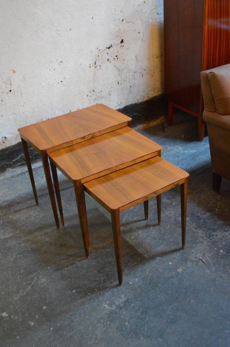 Mid-20th Century Midcentury Swedish Flame Birch Nesting Tables For Sale