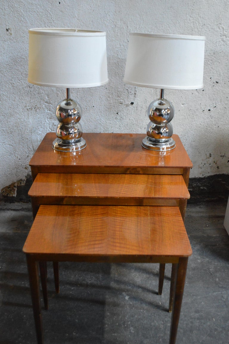 Midcentury Swedish Flame Birch Nesting Tables For Sale 1