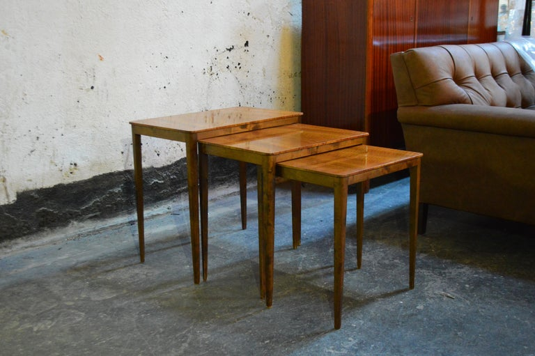 Midcentury Swedish Flame Birch Nesting Tables For Sale 2