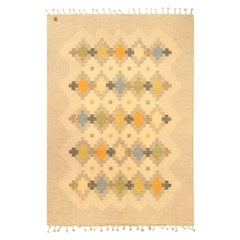 Midcentury Swedish Green, Orange, Blue, Golden Yellow and Tan Flat-Weave Carpet