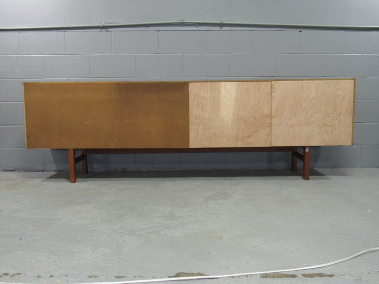 Teak Midcentury Swedish Long Sideboard Credenza by Nils Jonsson for Hugo Troeds For Sale