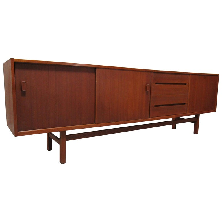 Midcentury Swedish Long Sideboard Credenza by Nils Jonsson for Hugo Troeds For Sale