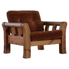 Mid Century Swedish Lounge Chair in Solid Pine, Made by Östen Kristiansson