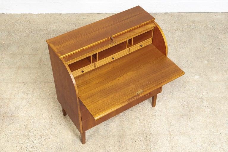 Midcentury Swedish Modern Egon Ostergaard Teak Wood Rolltop Secretary Desk For Sale 4