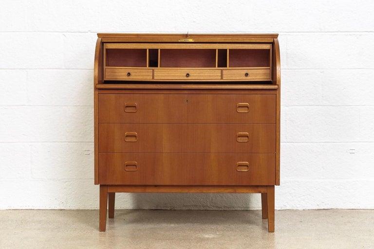 Late 20th Century Midcentury Swedish Modern Egon Ostergaard Teak Wood Rolltop Secretary Desk For Sale