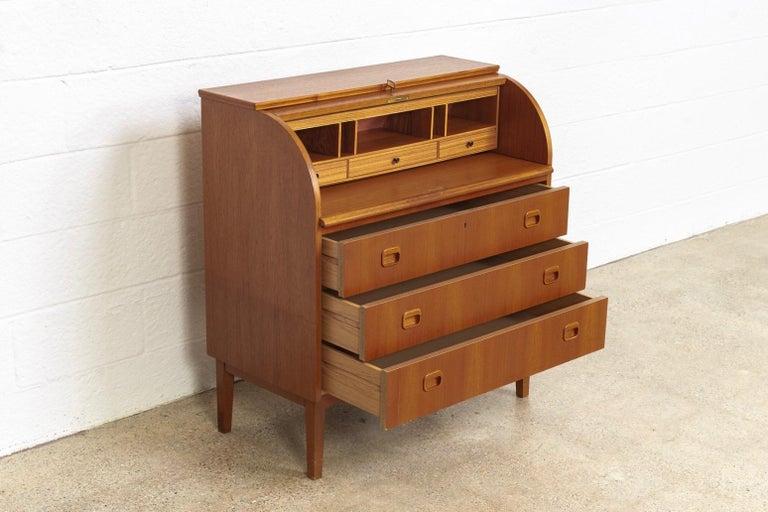 Brass Midcentury Swedish Modern Egon Ostergaard Teak Wood Rolltop Secretary Desk For Sale