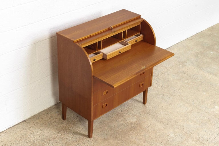 Midcentury Swedish Modern Egon Ostergaard Teak Wood Rolltop Secretary Desk For Sale 1