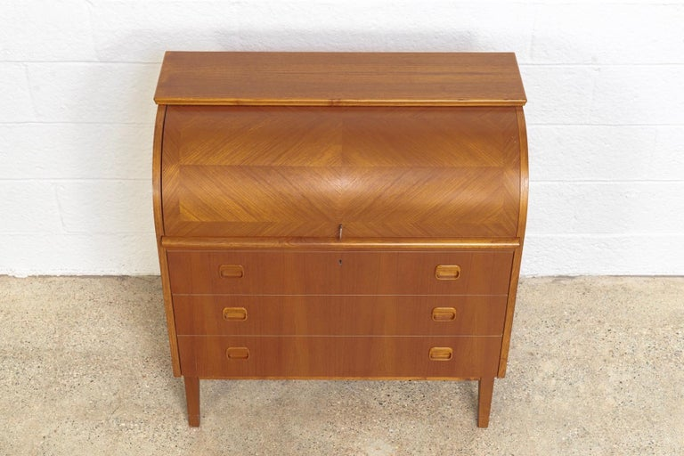 Midcentury Swedish Modern Egon Ostergaard Teak Wood Rolltop Secretary Desk For Sale 2