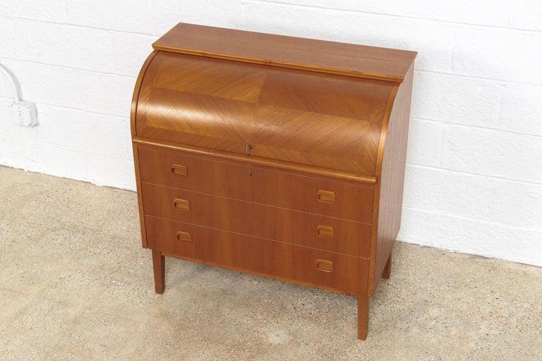 Midcentury Swedish Modern Egon Ostergaard Teak Wood Rolltop Secretary Desk For Sale 3