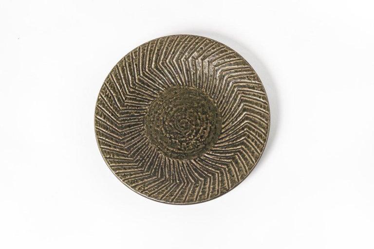 Hand-Crafted Midcentury Swedish Modern Mari Simmulson for Upsala-Ekeby Ceramic Plate For Sale