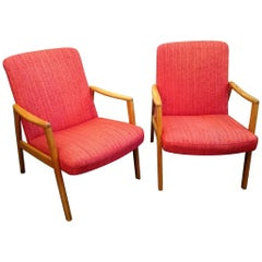 Midcentury Swedish Oak and Wool Easychairs