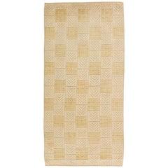 Midcentury Swedish Pile Pastel Yellow and Gold Wool Rug