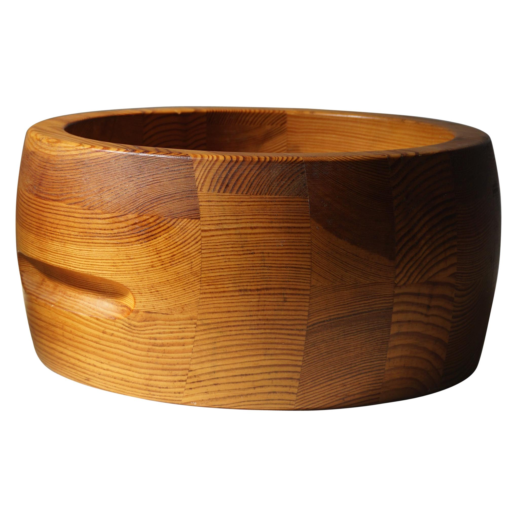 Mid Century Swedish Pine Bowl, Crafted at Holmbergs, 1980s