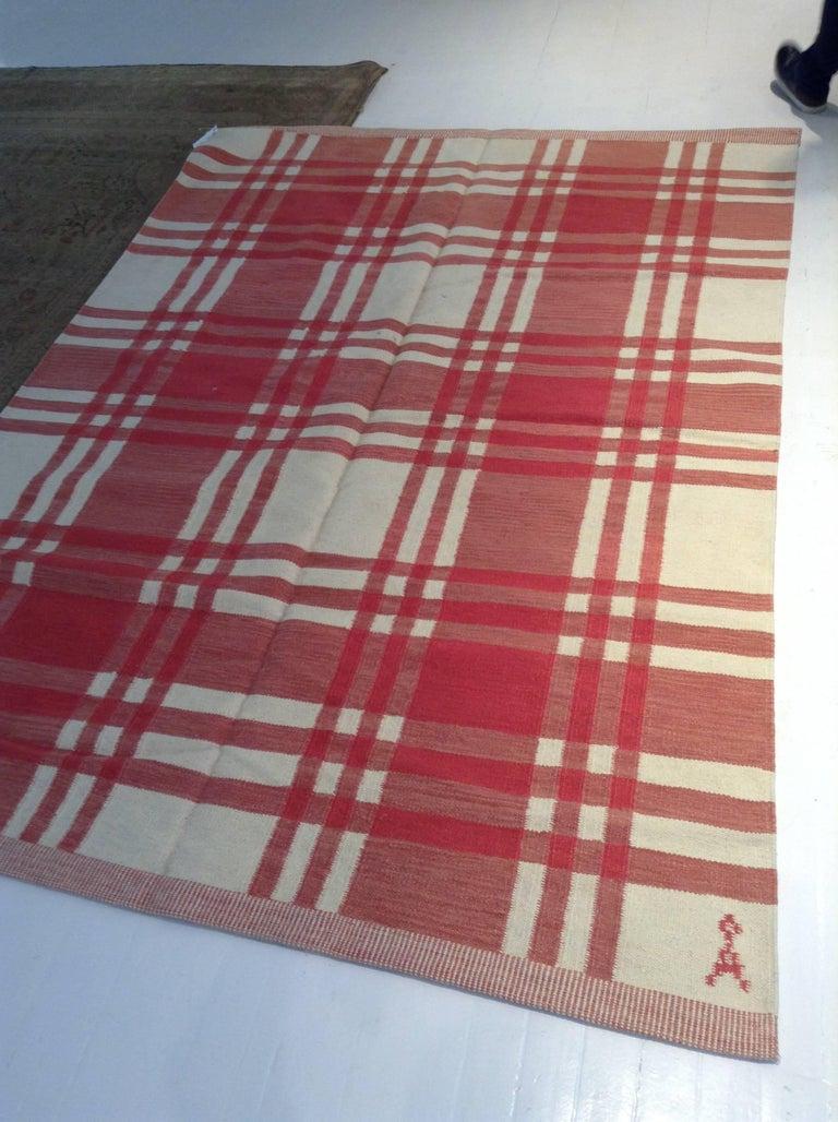 Midcentury Swedish red and ivory handmade wool rug Size: 6'5